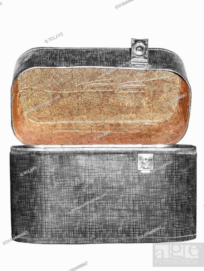 Stock Photo: Opened old suitcase with with one tray lock isolated on a white background.
