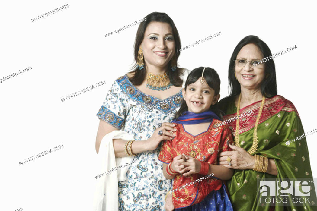 Stock Photo: Portrait of a senior woman with her daughter and granddaughter.