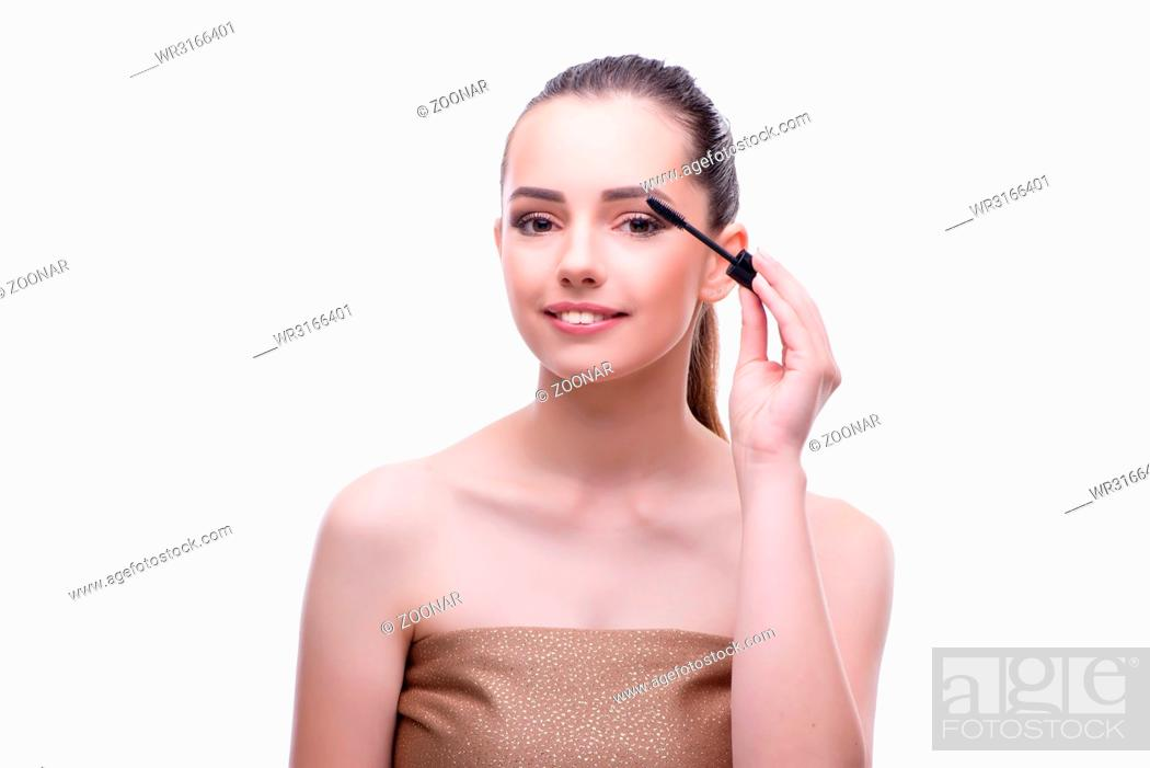 Stock Photo: Young beautiful female fashion model with make up.