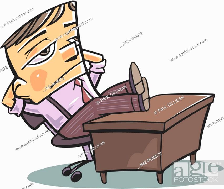 Stock Photo: A businessman sitting with his feet on his desk.