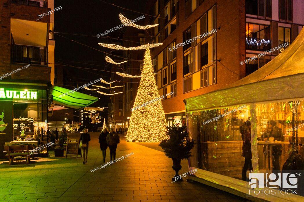 Stock Photo: Christmas Market at Überseequartier, Hamburg, Germany.