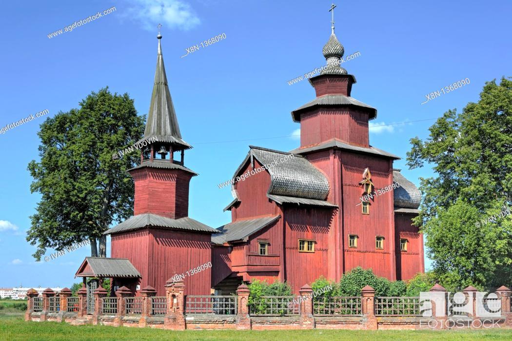 Stock Photo: Wooden church of St  John the Theologian on the river Isnya 1689, Rostov, Yaroslavl region, Russia.