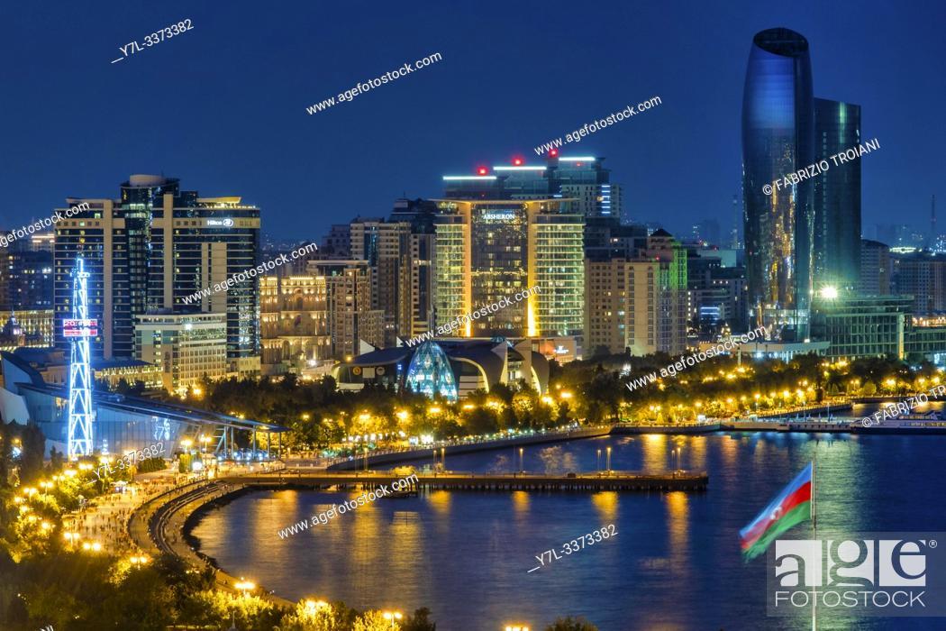 Stock Photo: Aerial view of the Baku Boulevard, Baku, Azerbaijan.