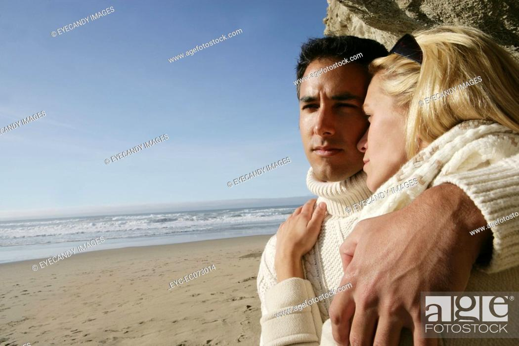Stock Photo: Affectionate couple at beach.