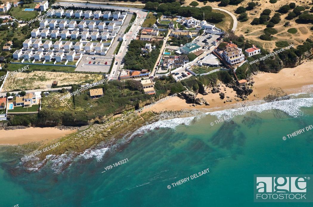 Stock Photo: Caños de Meca coast Cádiz Spain Aerial view.