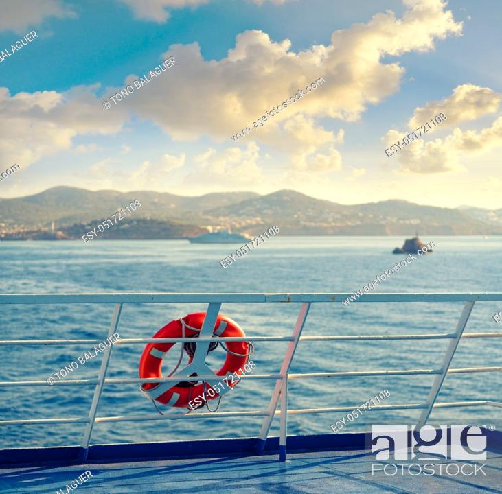 Stock Photo: Ferry railing in Ibiza with round buoy at Mediterranean Balearics sea of Spain.