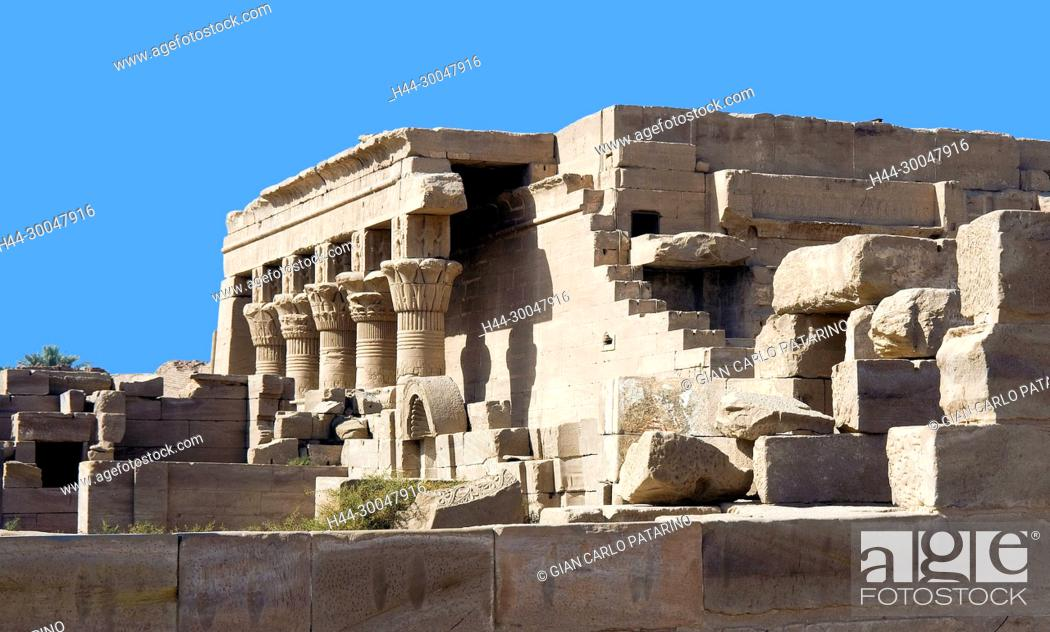 Stock Photo: Dendera Egypt, ptolemaic temple dedicated to the goddess Hathor.The mammisi.