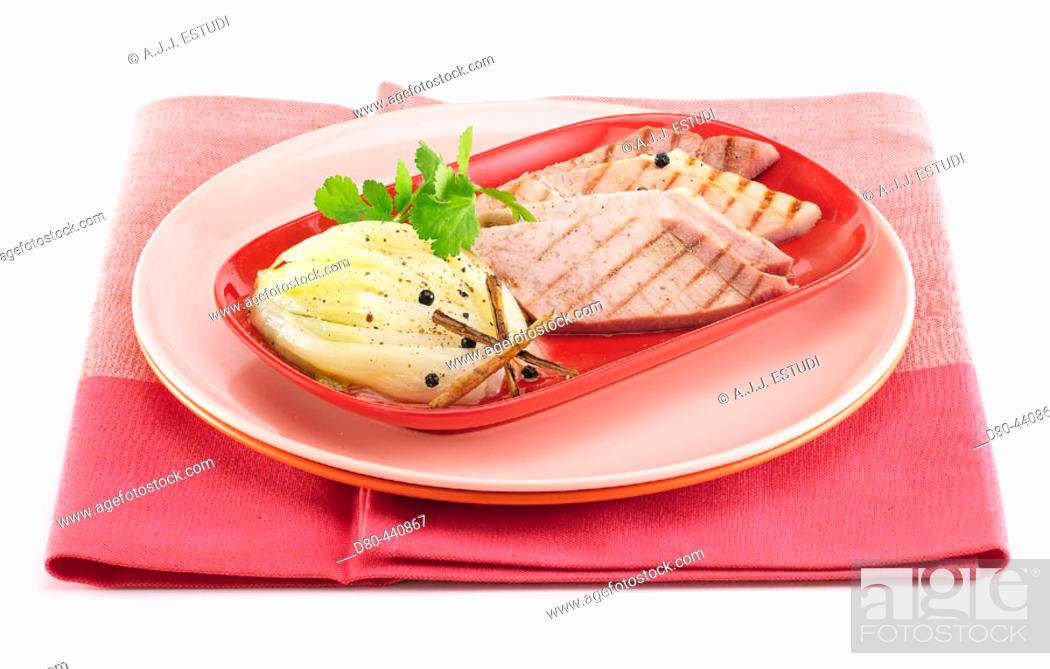 Stock Photo: Baked endives with bacon.