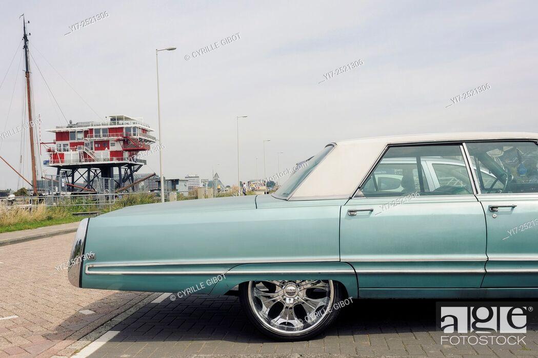 Stock Photo: Classic American car, Amsterdam's Westpoort district, Netherlands.