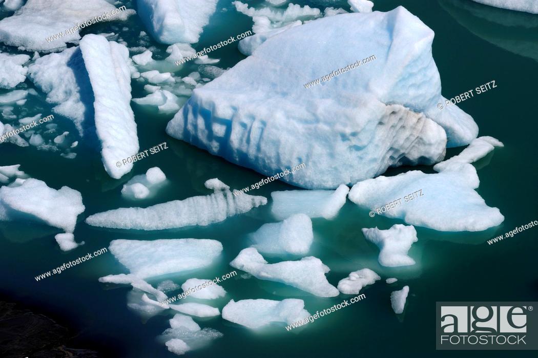 Stock Photo: Ice floes in the water, Perito Moreno Glacier, Patagonia, Argentina, South America.
