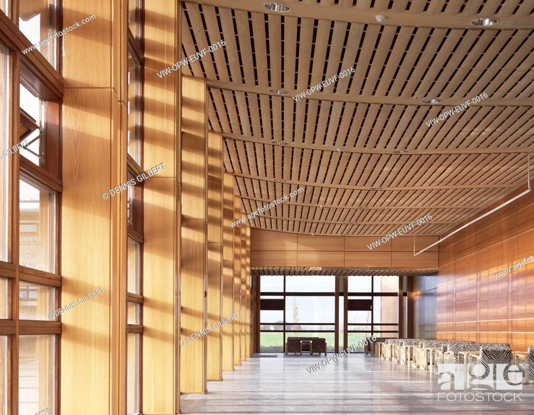Stock Photo: EU VETERINARY AND FOOD OFFICE CONFERENCE RECEPTION SEATING AREA WITH AMERICAN ASH CEILINGS.