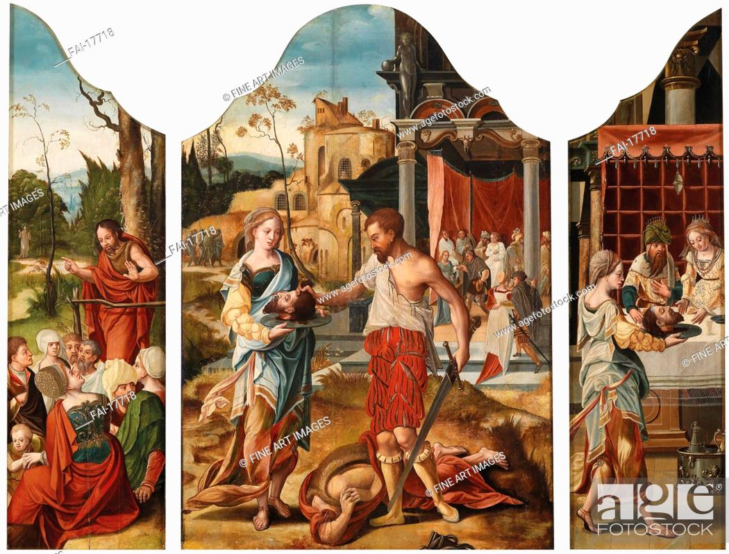 Triptych With Scenes From The Life Of Saint John The Baptist Stock