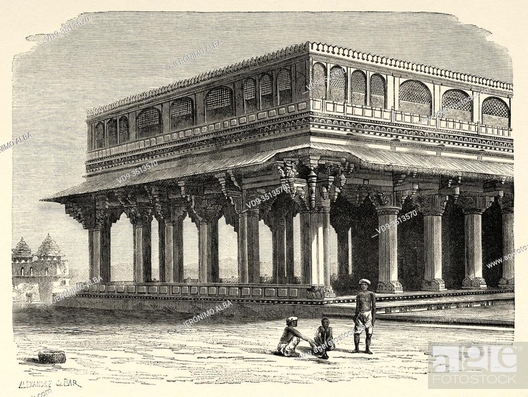 Photo de stock: Amber Fort Palace, Jaipur. Rajasthan, India. Old engraving illustration from El Mundo en la Mano 1878.