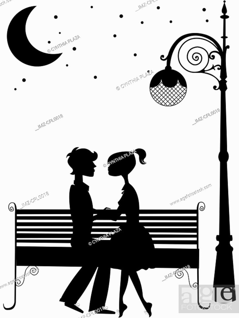 Stock Photo: Silhouette of a couple sitting on a bench under the moon,holding hands.