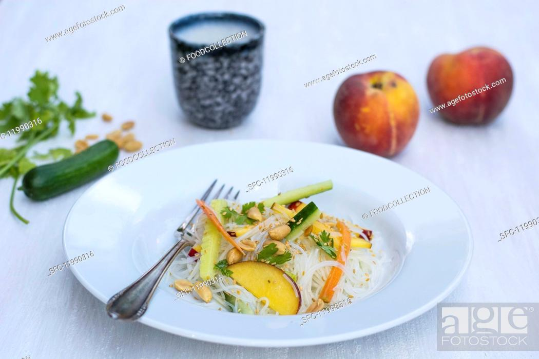 Stock Photo: Rice noodle salad with peach.