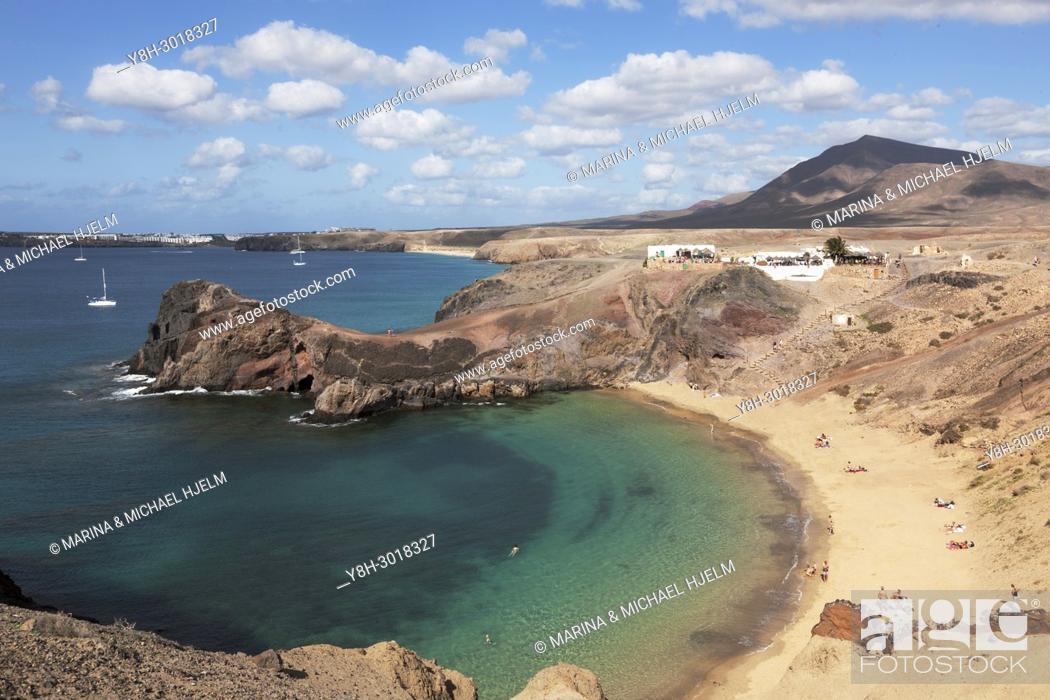 Stock Photo: Punta del Papagayo, Canary Islands; Lanzarote; Spain.