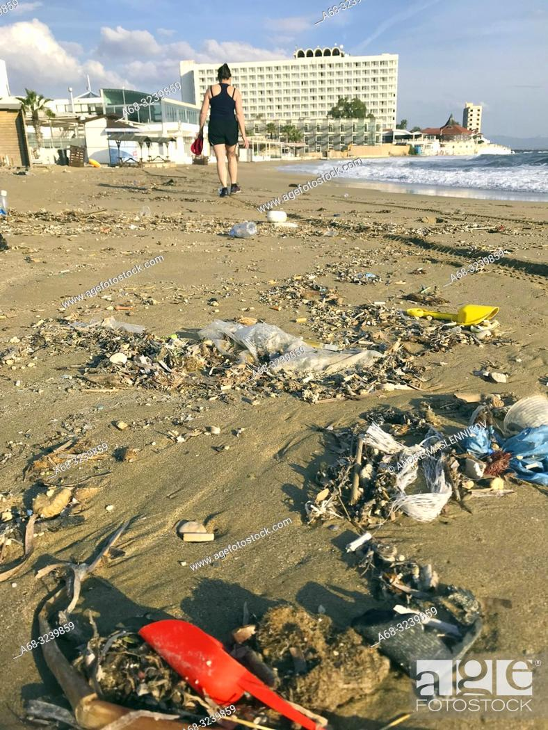 Stock Photo: Waste on the beach, close to Salamis hotel. Cyprus. . Photo: André Maslennikov.