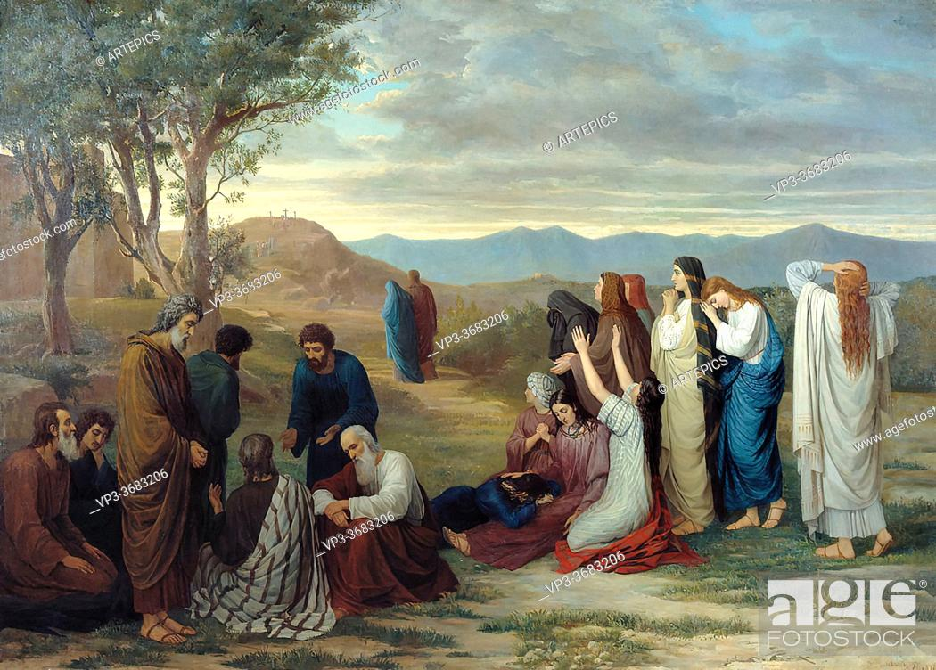 Stock Photo: Botkin Mikhail Petrovich - Women Looking from a Distance to Golgotha - Russian School - 19th Century.