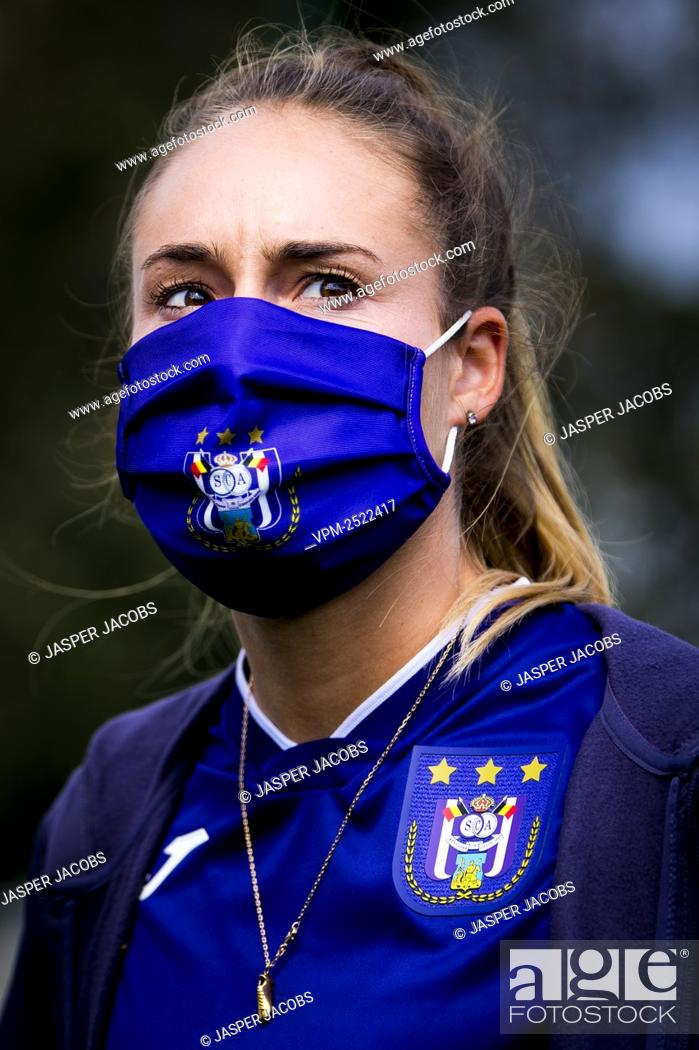 Stock Photo: Anderlecht new player Tessa Wullaert pictured during a press conference of RSC Anderlecht Women to present their latest transfer.