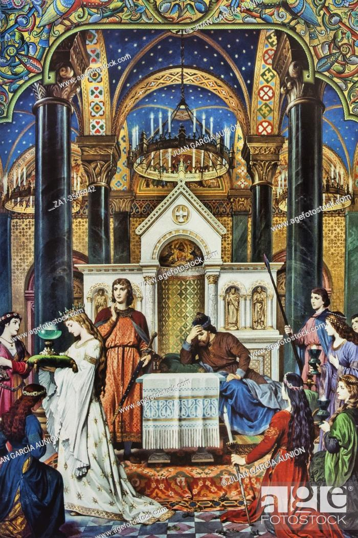 Imagen: Parsifal in Montsalvat, the Castle of the Holy Grail, Wall painting by A. Spiess 1883. Neuschwansteins Castle.