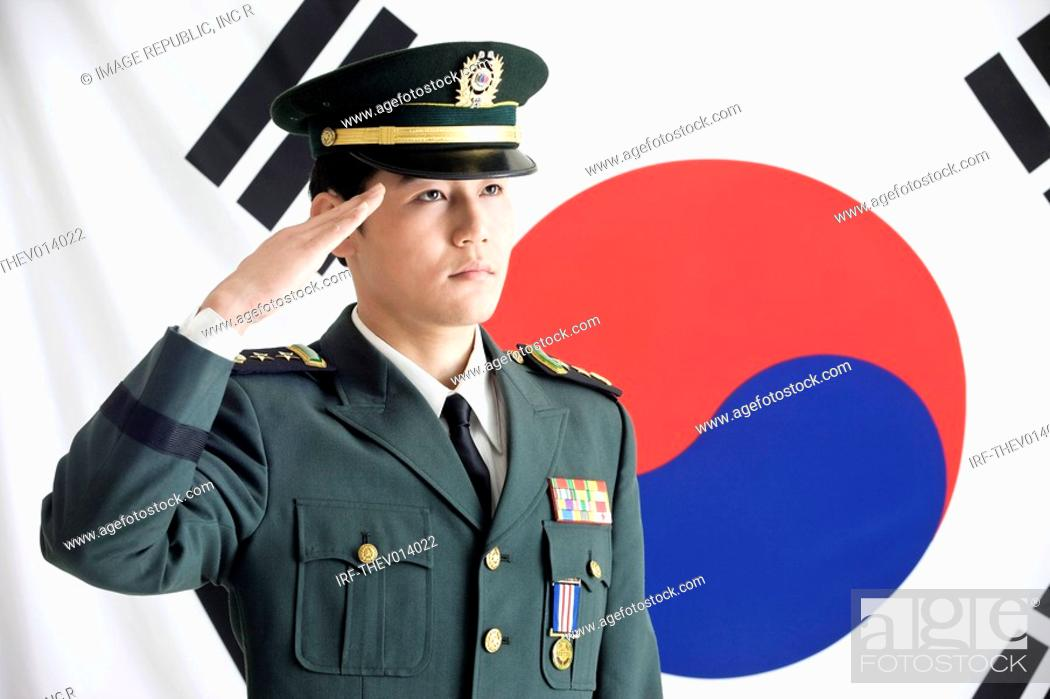 Stock Photo: military in front of Korean flag, Taegeukgi.