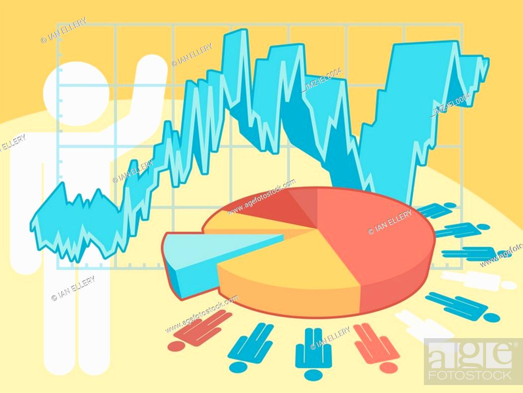Stock Photo: A graphical illustration of a numerous graphs and male symbols figures.