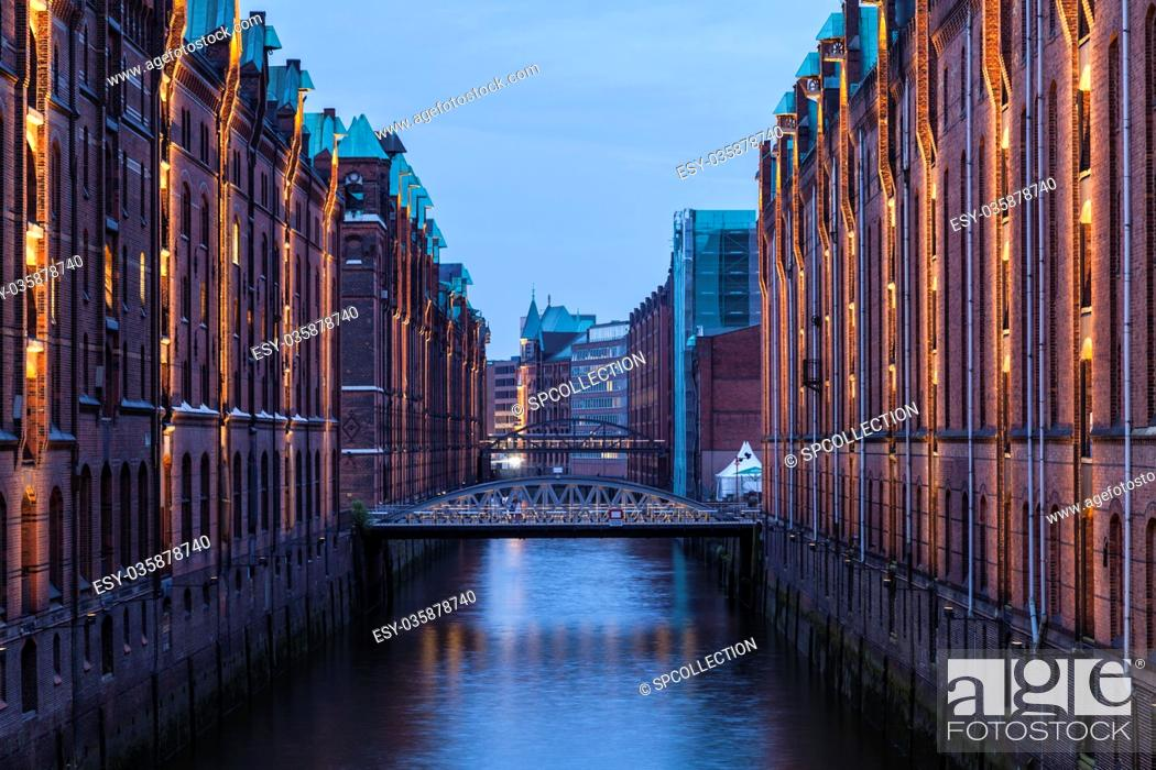 Stock Photo: Warehouse district in Hamburg.