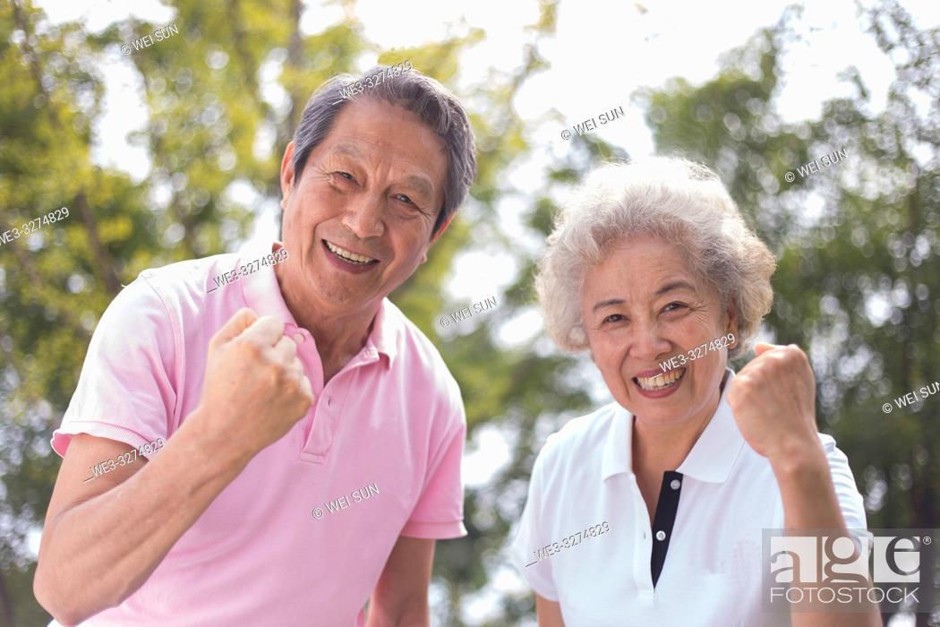 Stock Photo: Elderly couple outdoors, healthy life.