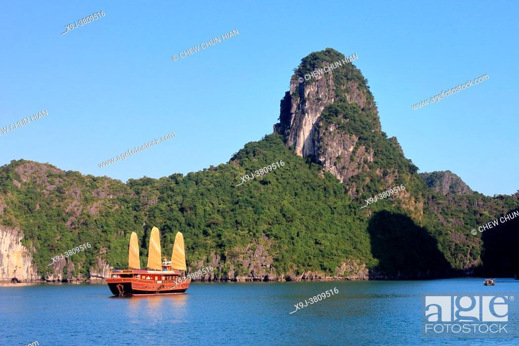 Imagen: Boat and limestone karst in Ha long, Halong Bay, Vietnam, Ha long, Halong Bay, Vietnam.