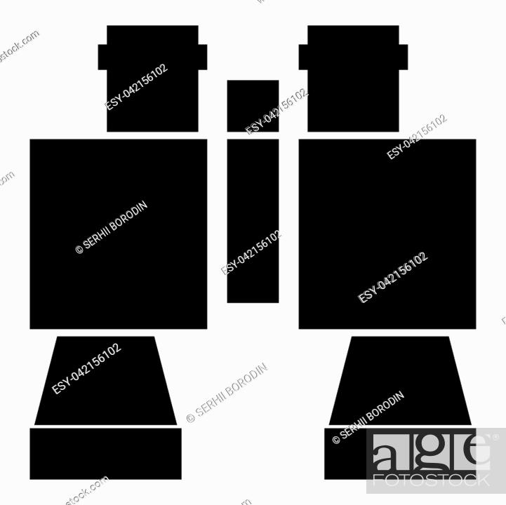 Stock Vector: Binocular pair of glasses icon black color vector illustration flat style simple image.