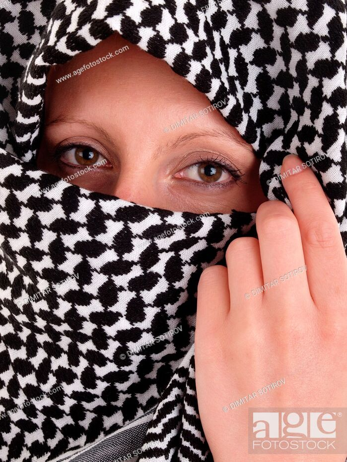 Stock Photo: Woman from the Middle East whit niqab veil.