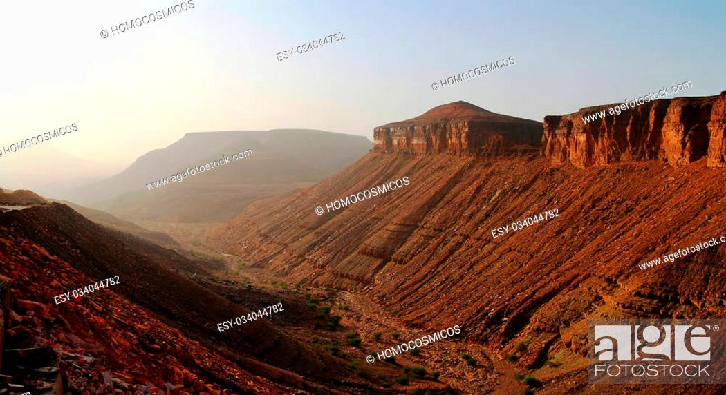 Stock Photo: Landscape with Adrar mountain, rocks and gorge, Mauritania.