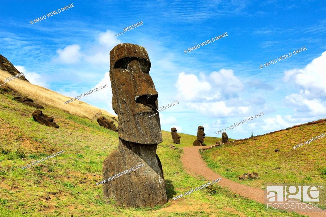 Stock Photo: Chile, Easter Island, Rapa Nui, moai heads on the crater slopes of  Rano Raraku.