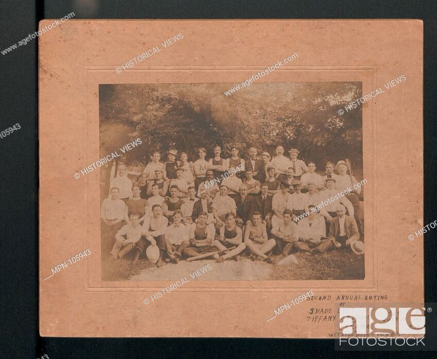 Stock Photo: Large photograph of outing of the Lamp Shade Department. Maker: Tiffany Studios (1902-32); Date: 1907; Geography: Made in New York, New York.