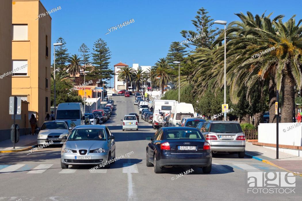 Stock Photo: Urban scene in Tarifa, Spain, Costa de la Luz, Cadiz, Andalusia, Spain.