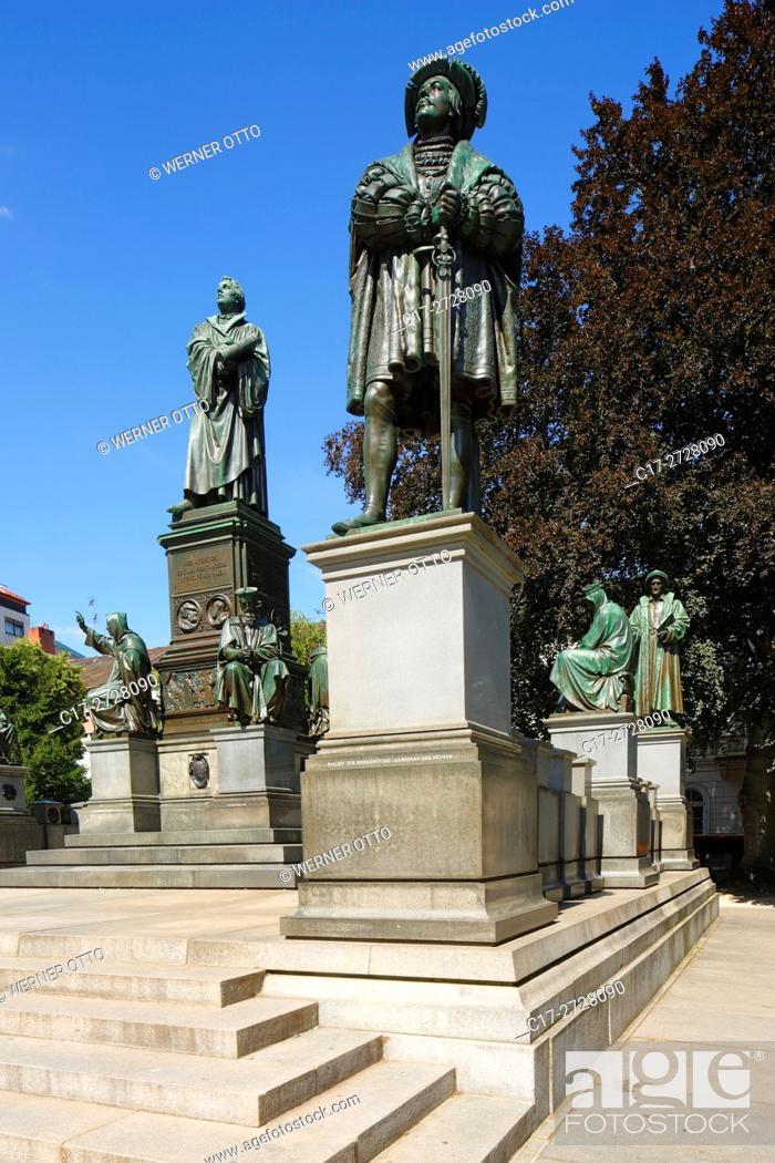 Imagen: Germany, Worms, Rhine, Upper Rhine, Rhenish Hesse, Rhine-Neckar area, Rhine-Main district, Rhineland-Palatinate, Luther Monument by Ernst Rietschel on the.