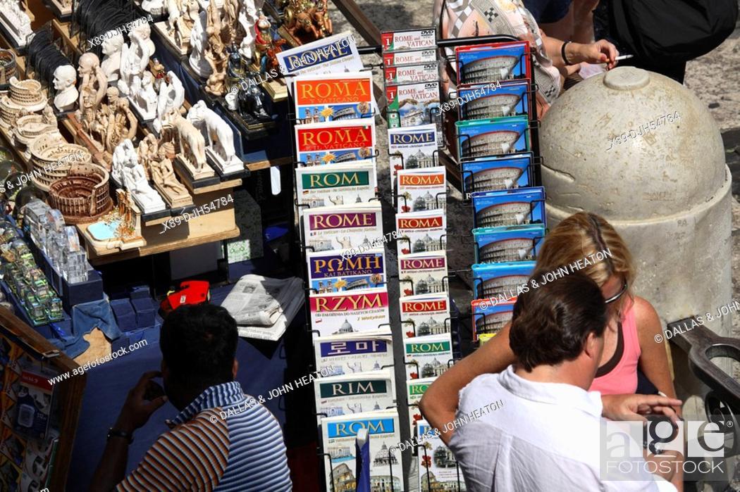 Stock Photo: Italy, Lazio, Rome, Colosseum, Souvineer Street Stall.