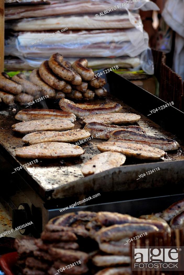 Stock Photo: Sausage Creole Ribadesella street stall, Asturias.