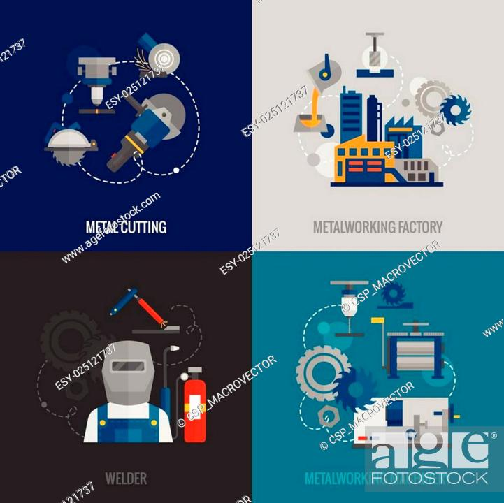Stock Vector: Metalworking factory 4 flat icons.