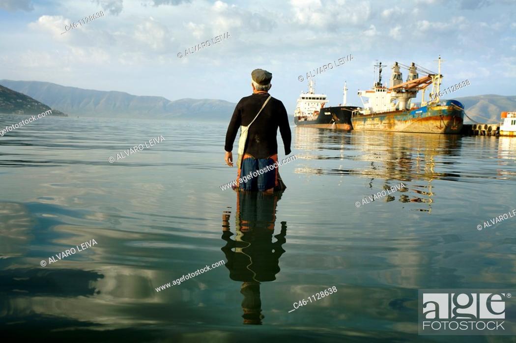 Stock Photo: Fisherman. Vlore. Albania.