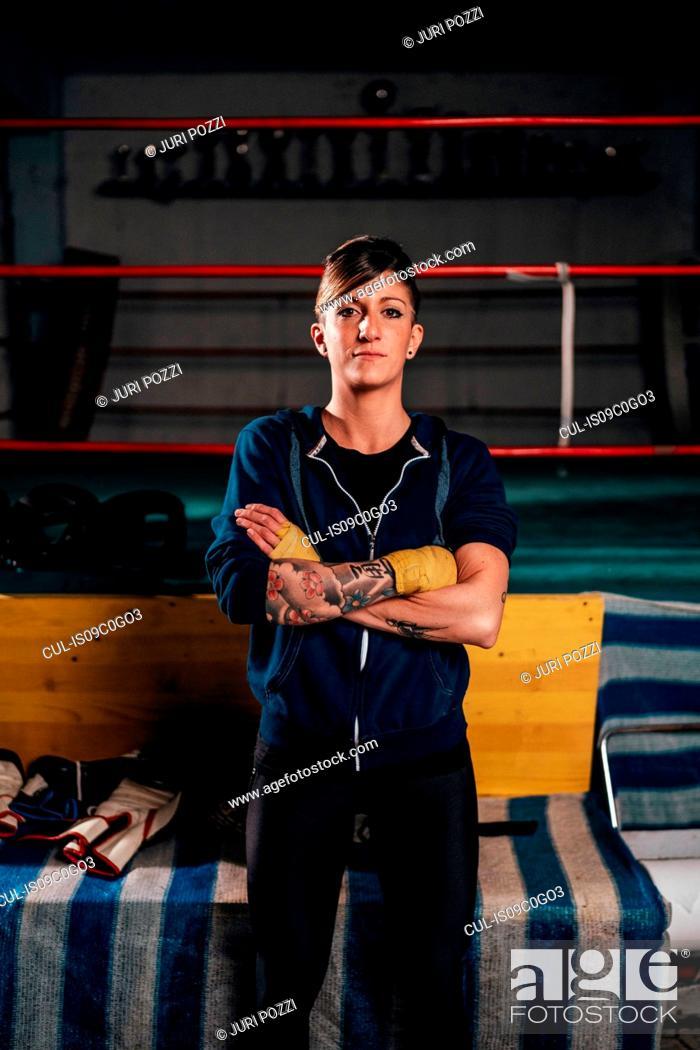 Stock Photo: Boxer in gym.