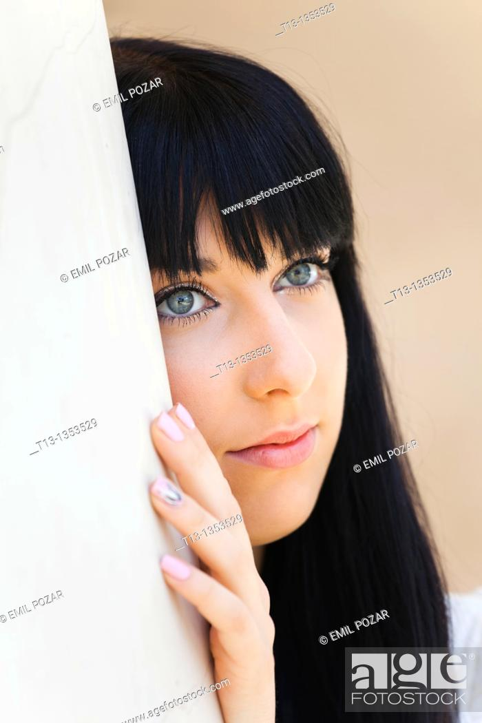 Stock Photo: Daydreaming young female face.