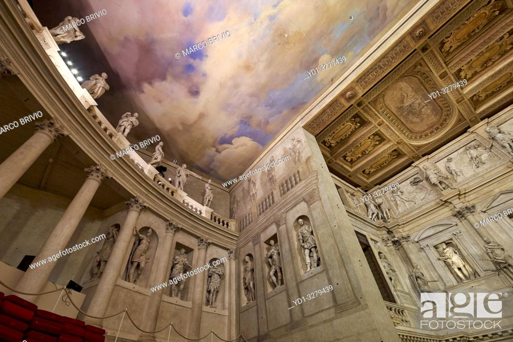 "Stock Photo: Vicenza, Veneto, Italy. The Teatro Olimpico (""Olympic Theatre"") is a theatre in Vicenza, northern Italy, constructed in 1580-1585."