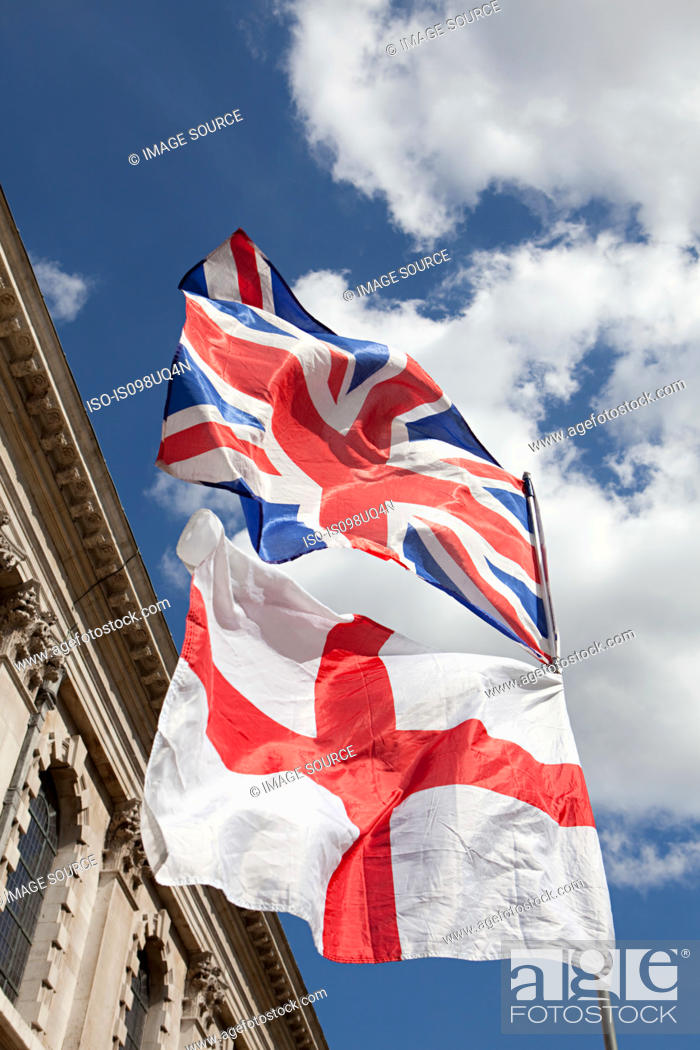Stock Photo: British and English flags, London.