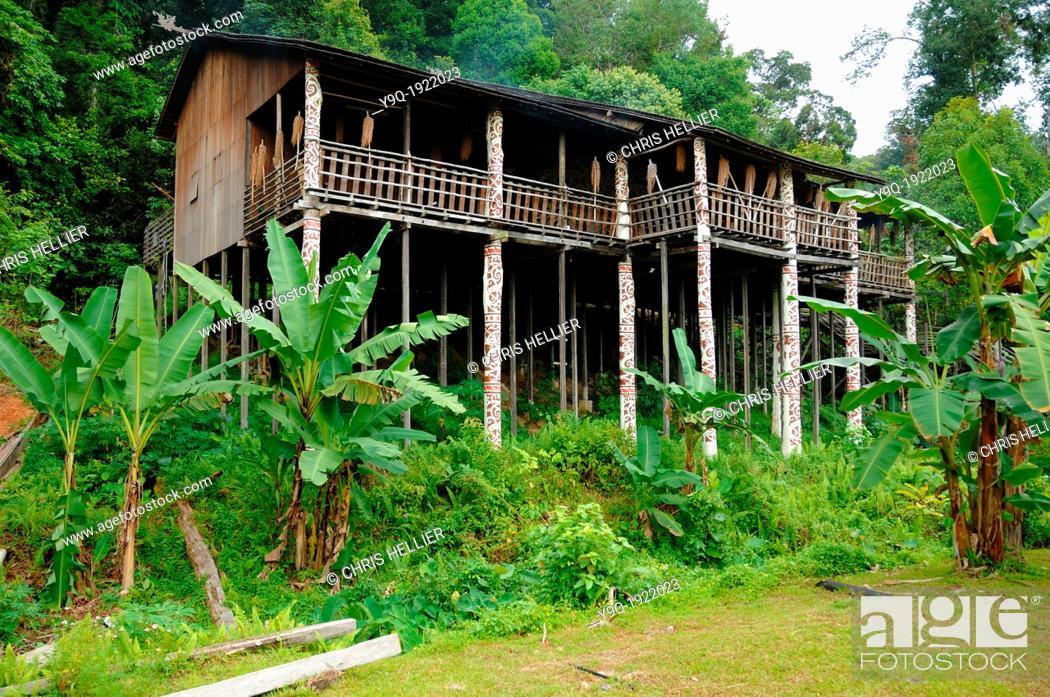 Stock Photo: Orang Ulu Tribal Longhouse in Rain Forest Sarawak Borneo Malaysia.