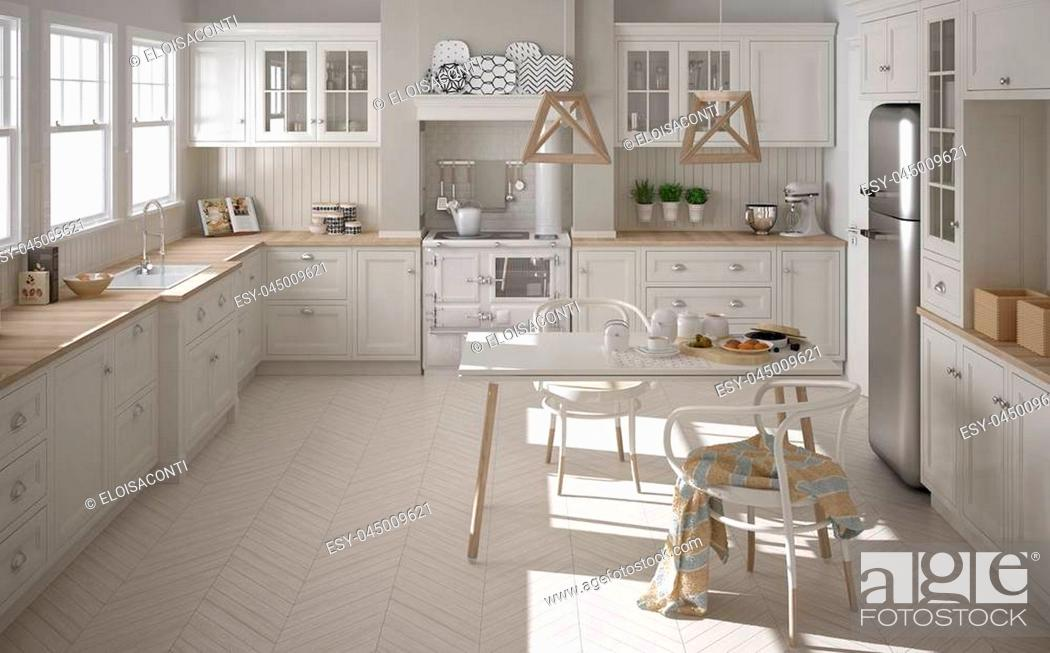 Stock Photo: Scandinavian classic white kitchen with wooden details, minimalistic interior design.