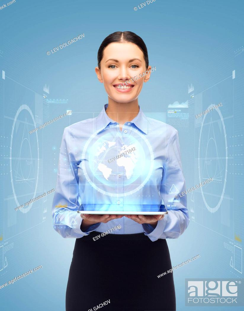Stock Photo: business, technology, internet and education concept - friendly young smiling businesswoman with tablet pc computer and virtual screen.