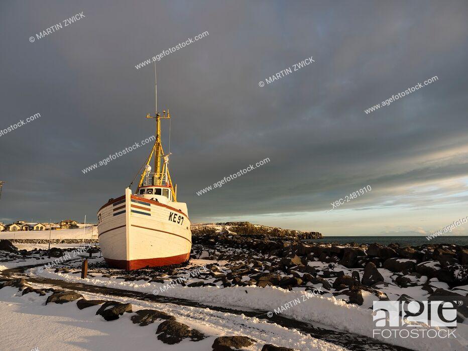 Stock Photo: Keflavik on the Reykjanes peninsula during winter. Museum ship in Keflavik harbour. europe, northern europe, iceland, February.