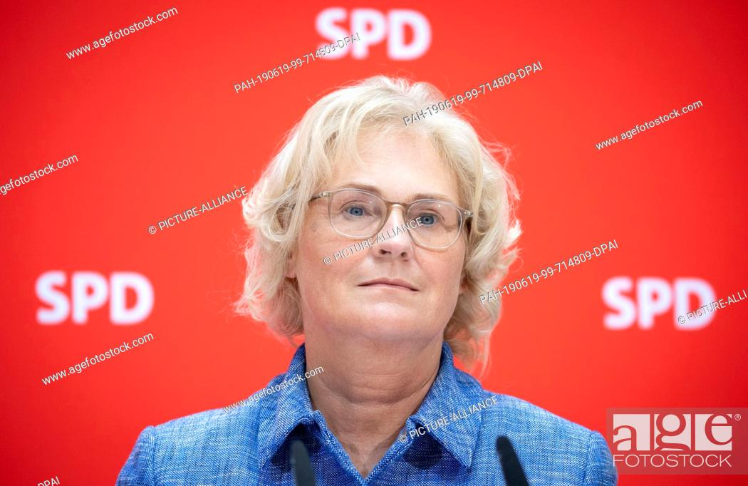 19 June 2019, Berlin: Christine Lambrecht (SPD), Parliamentary State  Secretary in the Ministry of..., Stock Photo, Picture And Rights Managed  Image. Pic. PAH-190619-99-714809-DPAI | agefotostock