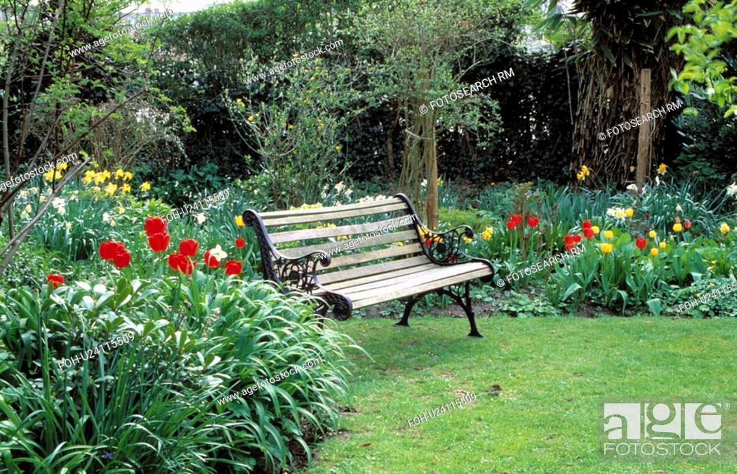 Corner of a suburban garden - a garden bench on the edge of a lawn ...